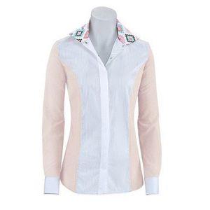 RJ Classics Girls Windsor Panel Show Shirt - Blush/White with Aztec Trim