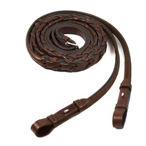 Schockemohle Fancy Stitched Hunter Reins - Royal Oak
