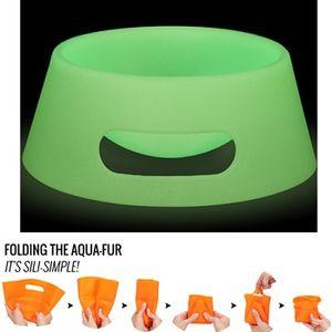 Silipint Aqua-Fur Dog Bowl - Green Glow in the Dark