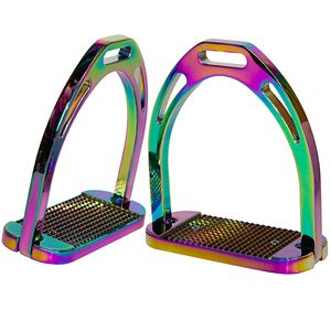 Korsteel Wide Tread Aluminum Stirrup Irons - Rainbow