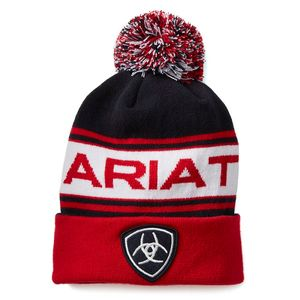 Ariat Team PomPom Beanie - Navy/Red