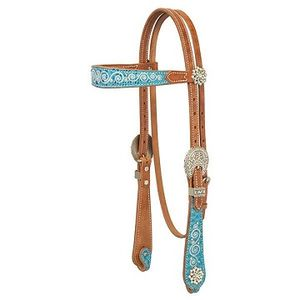 Weaver Snowflake Browband Headstall - Russet