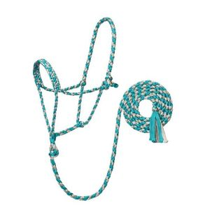 Weaver Braided Rope Halter with 6' Lead - Turquoise/Grey