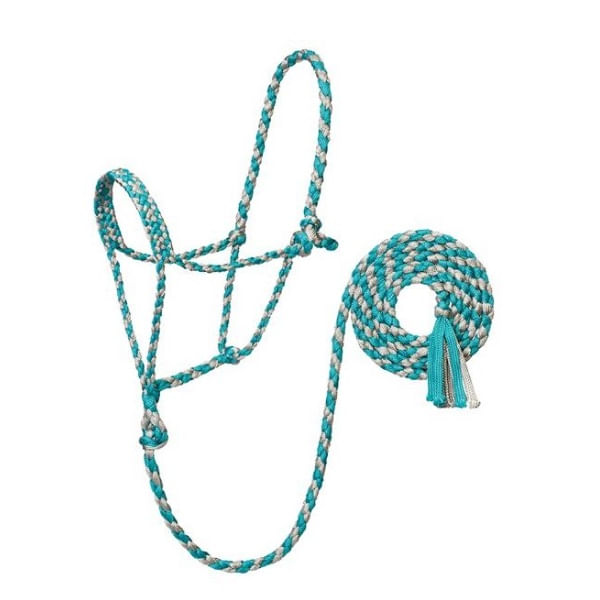 Weaver-Braided-Rope-Halter-with-6--Lead---Turquoise-Grey-242406