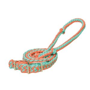 Weaver Braided Nylon Barrel Reins - Coral/Mint