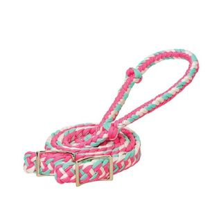 Weaver Braided Nylon Barrel Reins - Pink/White/Mint Sparkle