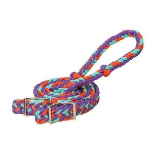 Weaver Braided Nylon Barrel Reins - Purple/Orange/Mint Sparkle