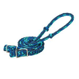 Weaver Braided Nylon Barrel Reins - Navy/Royal Blue/Turquoise