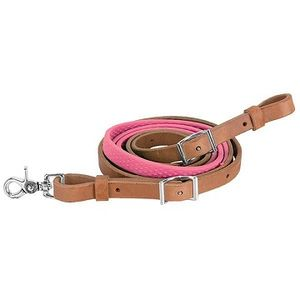 Weaver Rubber Grip Barrel Rein - Pink Rubber