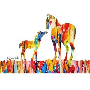 Hannah Hicks Art Card - Foal & Mare on Ground