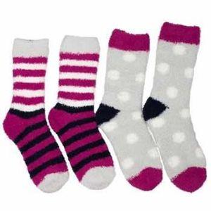 Joules Women's 2 Pair Pack Fabulously Short Fluffy Socks - Ruby