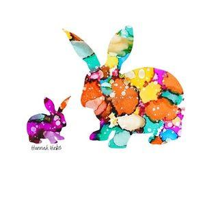 Hannah Hicks Art Card - Rabbit Mother & Baby