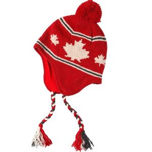 Crown Cap Unisex Canadiana Lambswool Knit Cap - Red