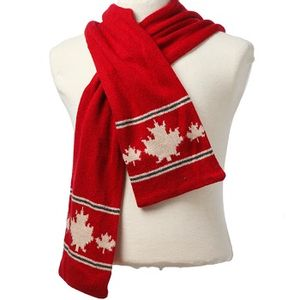 Crown Cap Canadiana Lambswool Scarf- Red