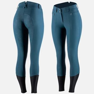 Horze Women's Angelina Silicone Grip Full Seat Breeches - Reflecting Pond