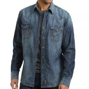 Wrangler Men's Retro Long Sleeve Blue Denim Western Shirt