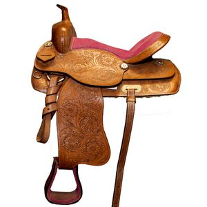 Used Pink Seat Western Saddle 16""