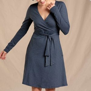 Cue Wrap Ls Dress Houndstooth