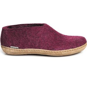 Glerups Unisex Shoe with Leather Sole - Cranberry
