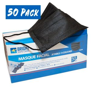 Bright Safe Care Disposable 3-Ply Face Masks Box of 50 - Black