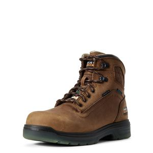"Ariat Men's Turbo 6"" CSA Waterproof Carbon Toe Work Boot- Aged Bark"