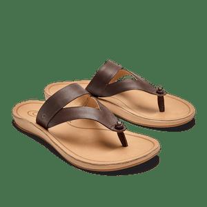 Olukai Women's Kaekae Ko'o Leather Beach Sandals Kona Coffee/Golden Sand