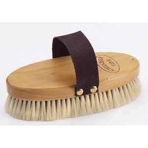"""Equine Essentials Wood Back 7"""" Body Brush with Goat Hair Bristles"""