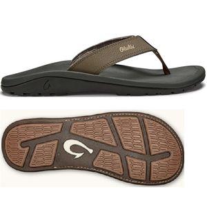 Olukai Men's Tuahine Leather Beach Sandals Toffee