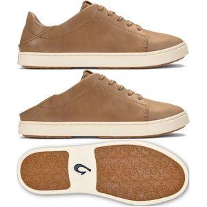 Olukai Women's Pehuea Li 'IIi Leather Sneakers Tan