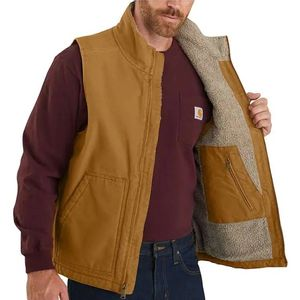 Carhartt Men's Washed Duck Sherpa Lined Vest - Carhartt Brown