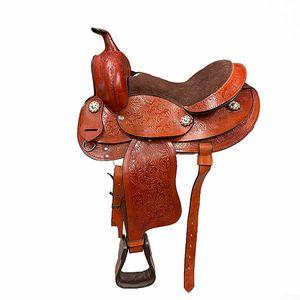 """Tooled Leather Pony Trail saddle 12""""- Chestnut"""