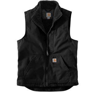 Carhartt Men's Washed Duck Sherpa Lined Mock Neck Vest - Black