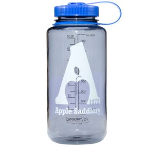 Nalgene  32oz Wide Mouth Water Bottle with Apple Saddlery Logo - Grey/Blue/White Logo