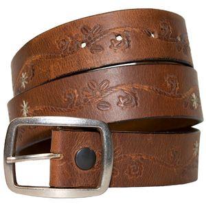 Keldon Women's Distress Leather Belt with Stitching - Brown