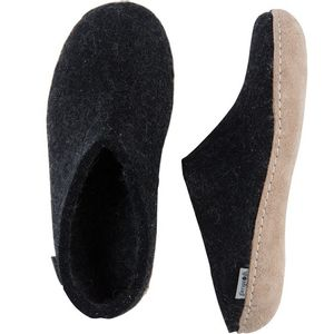 Glerups Unisex Slip-On with Leather Sole - Charcoal